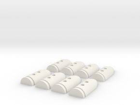 Bullet Buttons #3 in White Natural Versatile Plastic