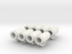 Bullet Buttons #1 in White Natural Versatile Plastic