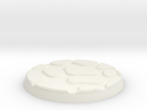 25mm Figure Base Large Cobble in White Natural Versatile Plastic