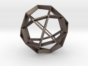 Polyhedral Sculpture #21 in Polished Bronzed Silver Steel