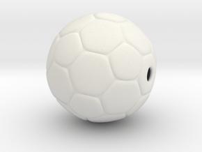 Soccer Ball Bead in White Natural Versatile Plastic