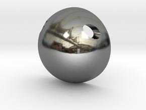 Half Sphere Pendant in Fine Detail Polished Silver