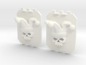 2 Large Tank Doors 3D Jester Skull in White Processed Versatile Plastic