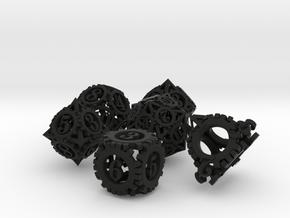 Steampunk Gear Dice Set noD00 in Black Natural Versatile Plastic
