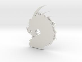 Dragon Pendant in White Natural Versatile Plastic