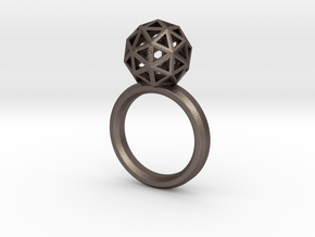 Geodesic Dome Ring size 7.5 in Polished Bronzed Silver Steel