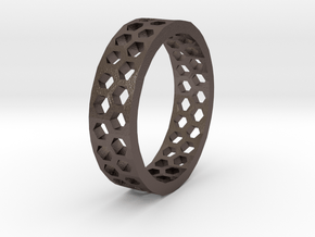 Hexagon Pattern Ring - Size 12 - Double Layer in Polished Bronzed Silver Steel
