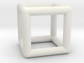 Hexahedron (Cube) in White Natural Versatile Plastic
