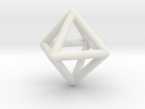 Octahedron in White Natural Versatile Plastic