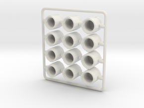Schrader tire valve dust cap - test set in White Natural Versatile Plastic