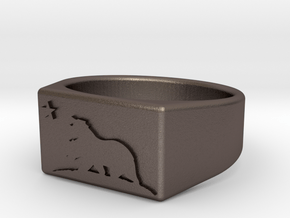 Size 12 - The New California Republic ring in Polished Bronzed Silver Steel