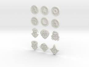 Morty Badges in White Natural Versatile Plastic