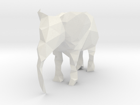 Polygon Elephant in White Natural Versatile Plastic