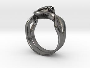 Lotus Ring in Polished Nickel Steel