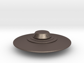 Flying Saucer Miniature 2 in Polished Bronzed Silver Steel