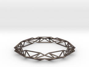 Queen of Diamonds M (75mm) in Polished Bronzed Silver Steel