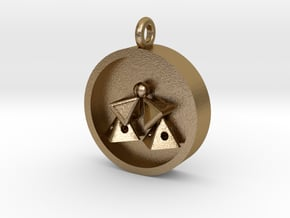 Pyramid Kiss Pendant in Polished Gold Steel