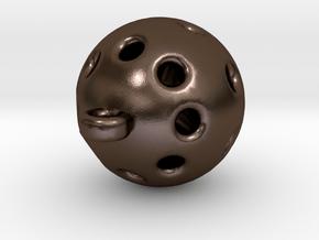 Hole Sphere Pendant in Polished Bronze Steel