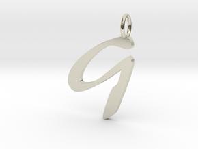 Classic Script Initial Pendant Letter G in 14k White Gold