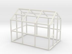 Small Greenhouse Model 1/32 in White Natural Versatile Plastic