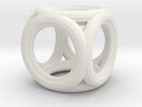 Mini cube pendant in White Natural Versatile Plastic