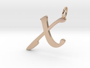 X Classic Script Initial Pendant in 14k Rose Gold