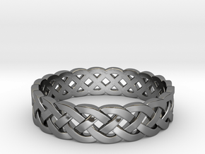 Rohkea Bold Celtic Knot Size 5 in Fine Detail Polished Silver
