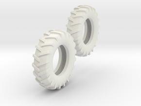 1:64 14.9-28 Tire Pair in White Natural Versatile Plastic