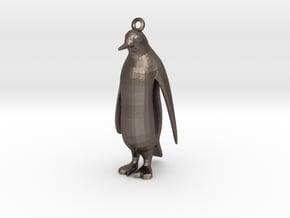 PenguinPendant in Polished Bronzed Silver Steel