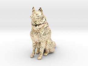 Dog Figurine - Sitting Finnish Spitz 1:43,5 scale  in 14K Yellow Gold