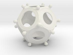 Roman Dodecahedron Medium in White Natural Versatile Plastic