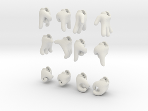 Six Pack-o-Hands in White Natural Versatile Plastic