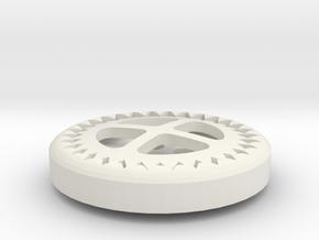 Gear Button in White Natural Versatile Plastic