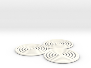 Triskelion (triple spiral) 1mm in White Processed Versatile Plastic