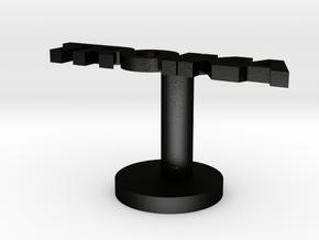 Custom Text Cufflink in Matte Black Steel