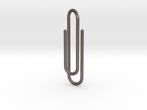 Clip tie bar in Polished Bronzed Silver Steel