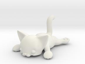 Flat Cat in White Natural Versatile Plastic