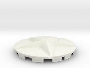 Star Cap For Shield Decoration in White Natural Versatile Plastic
