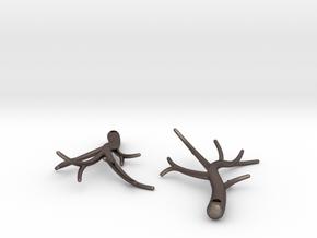 Twiggy Earrings in Polished Bronzed Silver Steel: Large
