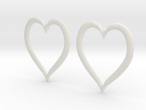 Heart Earrings in White Natural Versatile Plastic