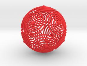 Spiraling Icosahedron in Red Processed Versatile Plastic
