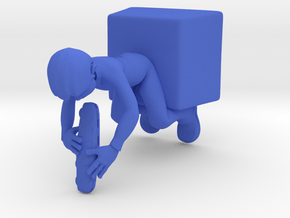 Guy Eating Sandwich in Blue Processed Versatile Plastic