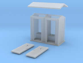 N-Scale 2-Hole Outhouse in Smooth Fine Detail Plastic