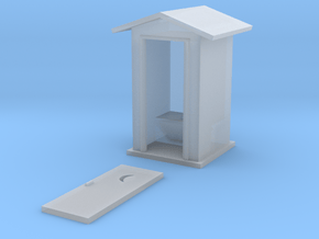 S-Scale Peaked Roof Outhouse in Smooth Fine Detail Plastic