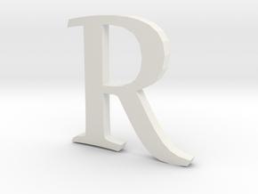R  (letters series) in White Natural Versatile Plastic