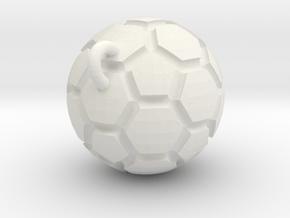 Pendant(Soccer Ball) in White Natural Versatile Plastic