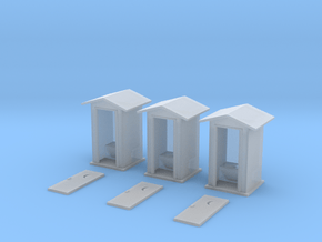 HO-Scale Peaked Roof Outhouse (3-Pack) in Smooth Fine Detail Plastic