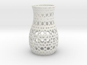 Geometric Tealight Sleeve - Large in White Natural Versatile Plastic