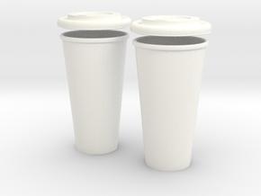 BJD Doll Coffee House Cup and Lid - 2 Pack in White Processed Versatile Plastic