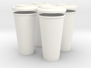 BJD Doll Coffee House Cup and Lid - Set of 4 in White Processed Versatile Plastic